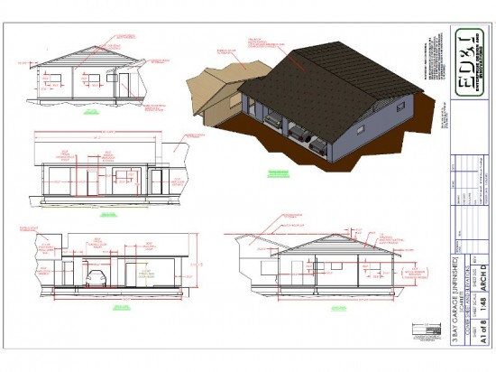 Garage Drawing, Elevations